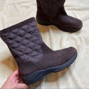 LANDS END Quilted All Weather Boot Brown Leather 9
